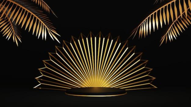 Renderização 3d de um luxuoso pódio dourado com folhas de palmeira de ouro em fundo preto