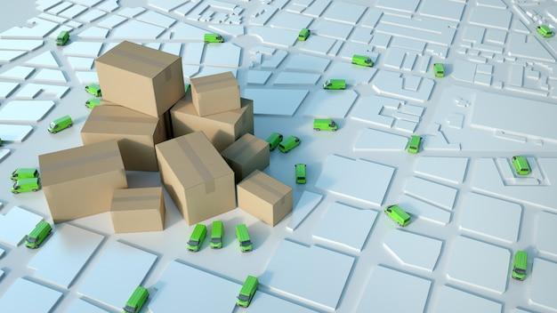 Renderização 3d de um mapa branco com caminhões verdes circulando e uma pilha de caixas