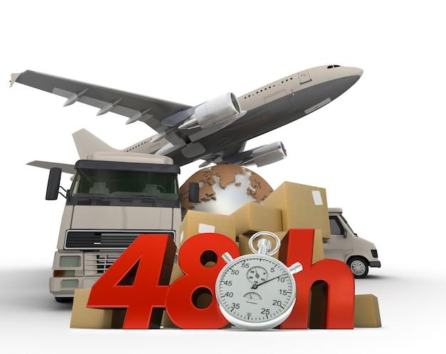 Renderização 3d de um mapa-múndi, embala uma van, um caminhão e um avião com as palavras 48 horas e um cronômetro