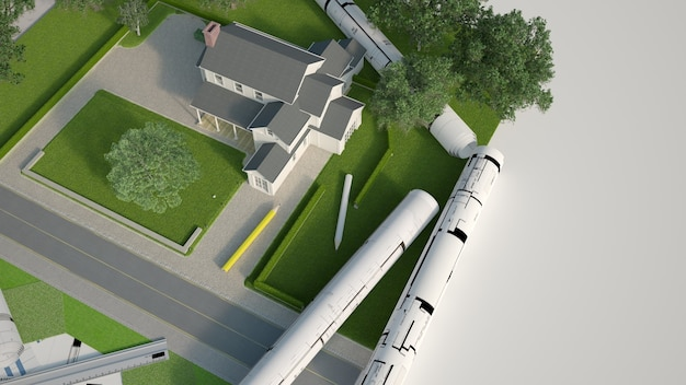 Renderização 3d de um modelo arquitetônico e paisagístico de uma casa com plantas