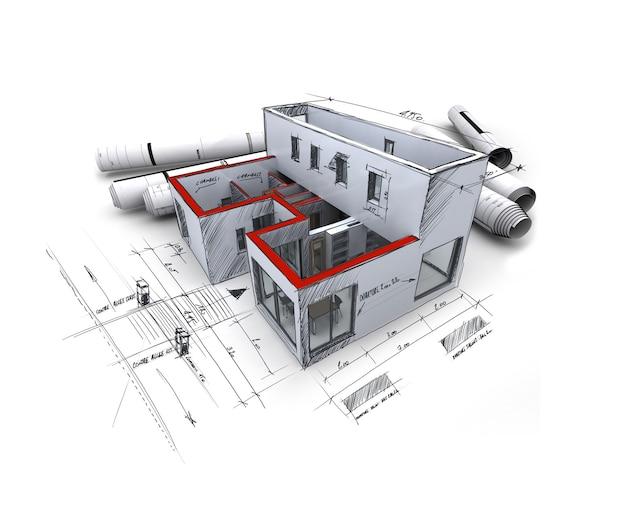 Renderização 3d de um modelo de arquitetura, com plantas enroladas e notas escritas à mão e medidas