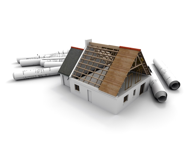 Renderização 3d de um modelo de arquitetura de uma casa em processo de construção, com plantas enroladas