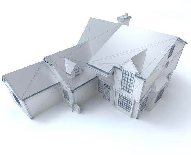 Renderização 3d de um modelo de arquitetura em branco