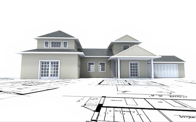 Renderização 3d de um modelo de arquitetura residencial em cima de plantas