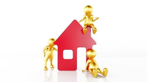 Renderização 3d de um modelo de régua de casa