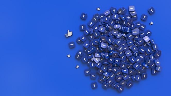 Renderização 3d de um monte de emblemas quadrados com o facebook e logotipos semelhantes sobre fundo azul