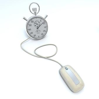 Renderização 3d de um mouse de computador conectado a um cronômetro Foto Premium
