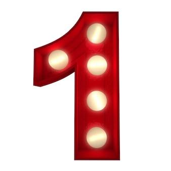 Renderização 3d de um número 1 brilhante ideal para sinais de show business