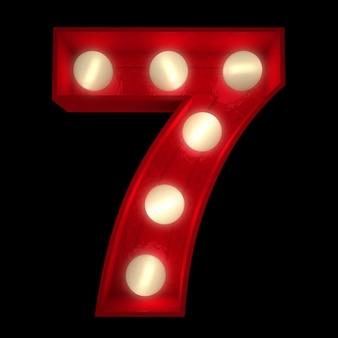 Renderização 3d de um número 7 brilhante, ideal para placas do show business