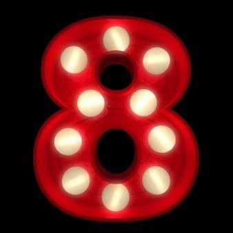 Renderização 3d de um número 8 brilhante ideal para placas do show business