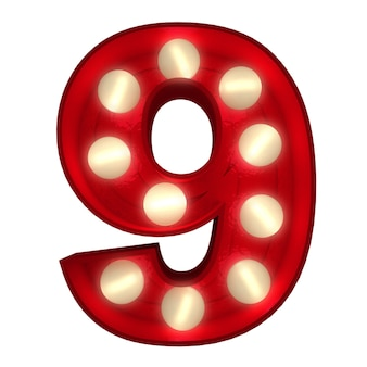 Renderização 3d de um número 9 brilhante ideal para placas do show business