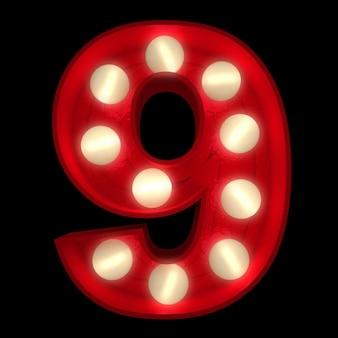 Renderização 3d de um número 9 brilhante, ideal para sinais do show business (parte de um alfabeto completo)