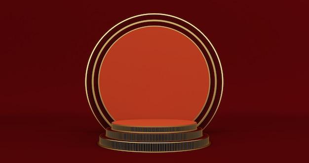 Renderização 3d de um pedestal vermelho e dourado isolado na parede preta, minimalista de luxo