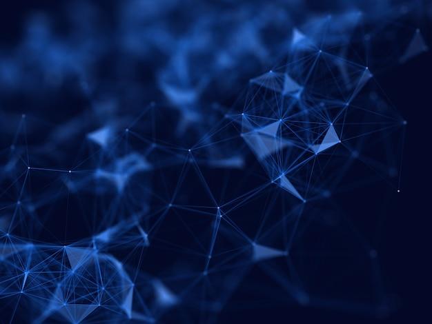Renderização 3d de um plano de fundo de projeto de comunicações de rede com profundidade de campo rasa
