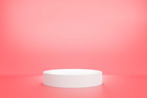 Renderização 3d de um pódio branco com cor rosa pastel para publicidade de produtos, estilo mínimo