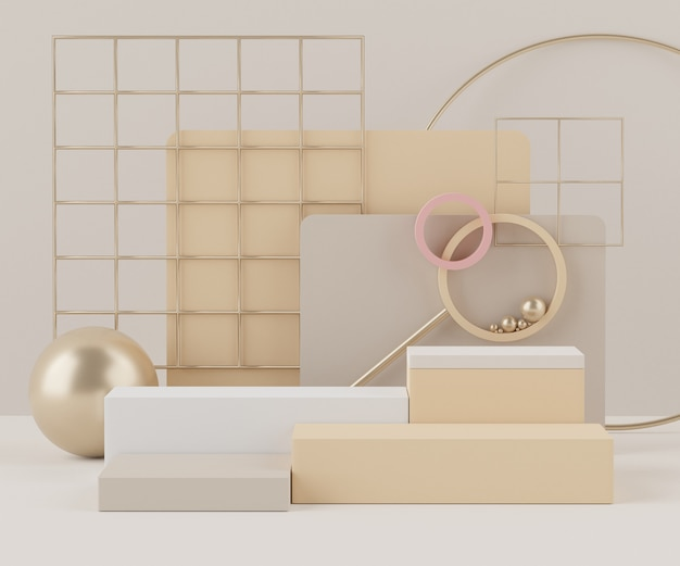 Renderização 3d de um pódio com formas geométricas