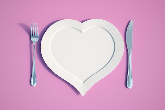 Renderização 3d de um prato em forma de coração com faca e garfo Foto Premium