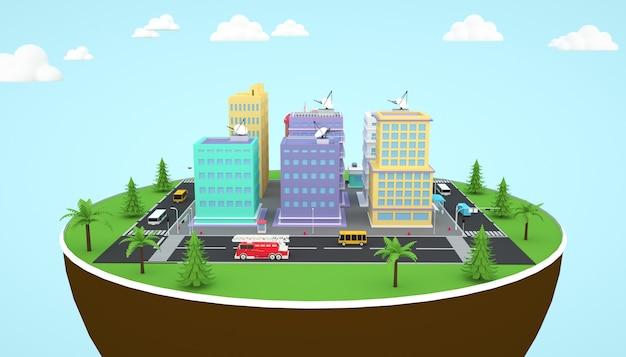 Renderização 3d de um prédio de apartamentos isométrico na cidade