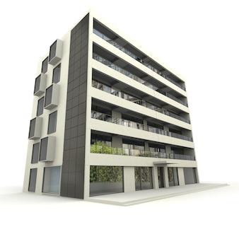 Renderização 3d de um prédio moderno
