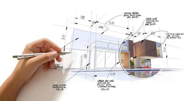 Renderização 3d de um projeto de arquitetura moderna de ponta com um esboço e desenho à mão