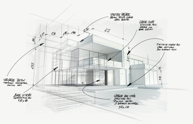 Renderização 3d de um projeto de arquitetura moderna de ponta