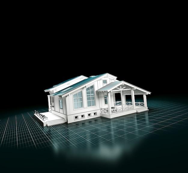 Renderização 3d de um projeto de casa
