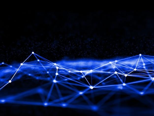 Renderização 3d de um projeto de comunicação de rede com linhas e pontos de conexão