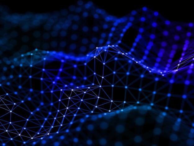 Renderização 3d de um projeto de conexões de rede fluidas com linhas e pontos de conexão