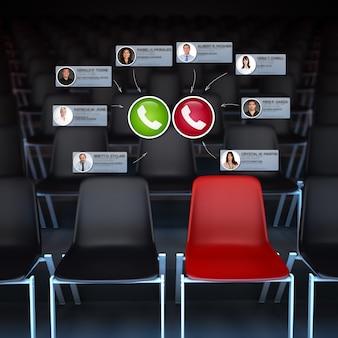 Renderização 3d de um público vazio com uma videoconferência ocorrendo