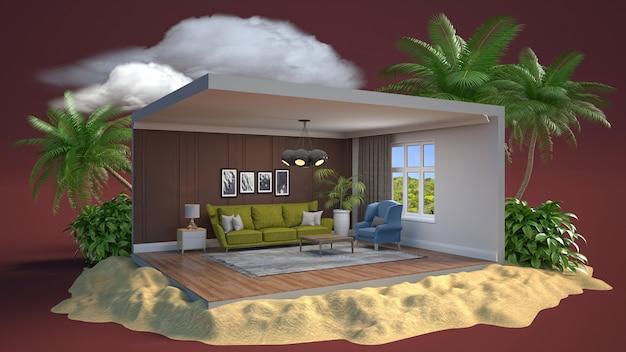 Renderização 3d de um quarto moderno e elegante