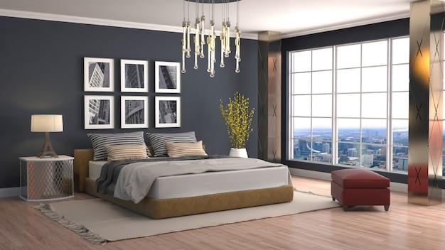 Renderização 3d de um quarto moderno