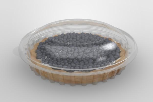 Renderização 3d de um recipiente de torta transparente vazio isolado no fundo branco. adequado para projeto de design.