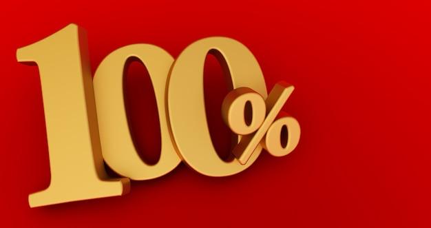 Renderização 3d de um símbolo de um cem por cento sobre fundo vermelho.