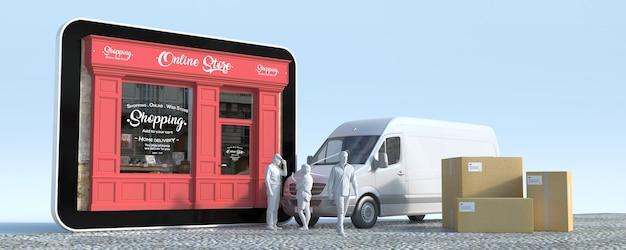 Renderização 3d de um tablet com uma boutique, uma van com caixas e entregadores