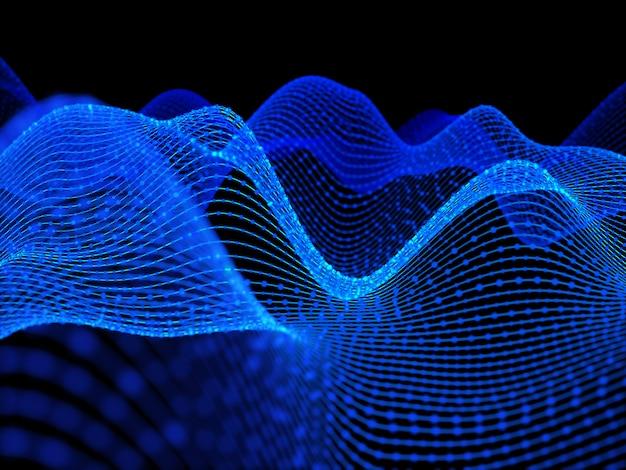 Renderização 3d de um techno abstrato com linhas fluidas e partículas