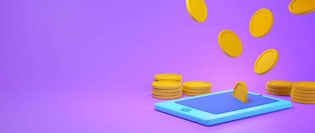Renderização 3d de um telefone celular azul e moedas de ouro caindo sobre ele no fundo roxo