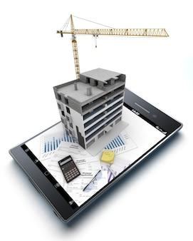 Renderização 3d de um telefone inteligente com um bloco de apartamentos em construção, além de gráficos e um formulário de pedido de hipoteca projetando-se