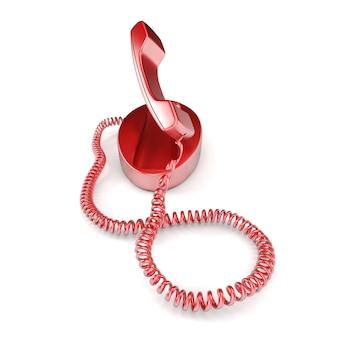 Renderização 3d de um telefone vermelho com o receptor levantado no modo de atendimento
