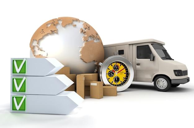 Renderização 3d de um tema de transporte internacional com uma lista de verificação