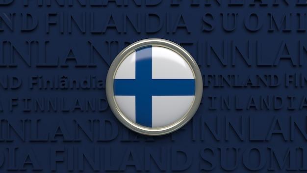 Renderização 3d de uma bandeira nacional da finlândia em um botão brilhante em azul escuro