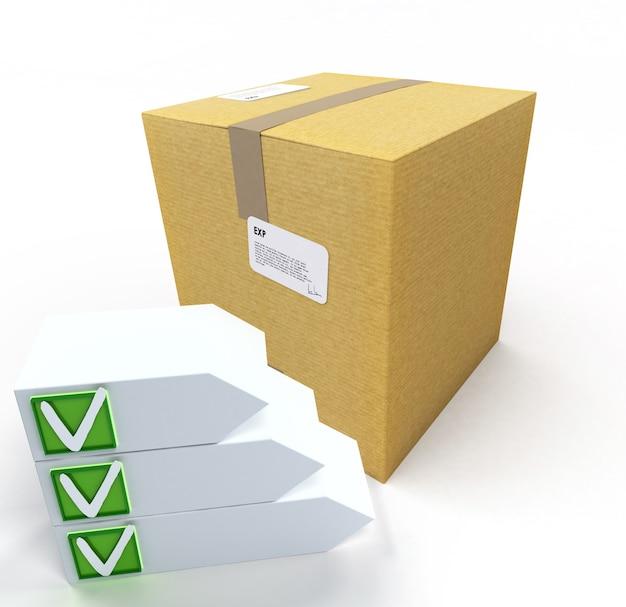 Renderização 3d de uma caixa de papelão com lista de verificação marcada personalizável
