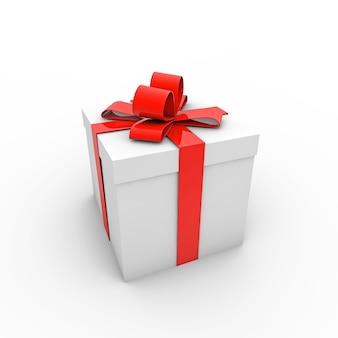 Renderização 3d de uma caixa de presente branca com uma fita vermelha isolada em um fundo branco
