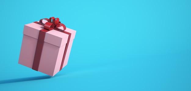 Renderização 3d de uma caixa de presente branca e vermelha contra uma superfície azul