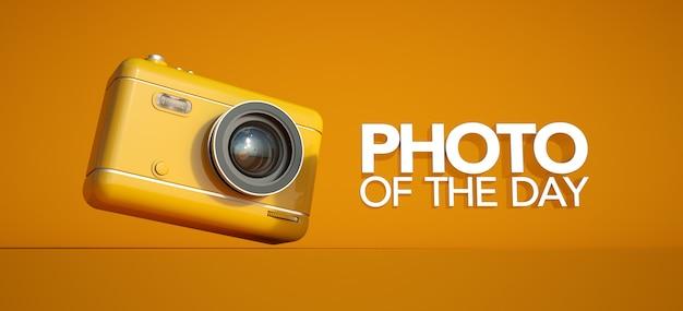 Renderização 3d de uma câmera e o sinal foto do dia