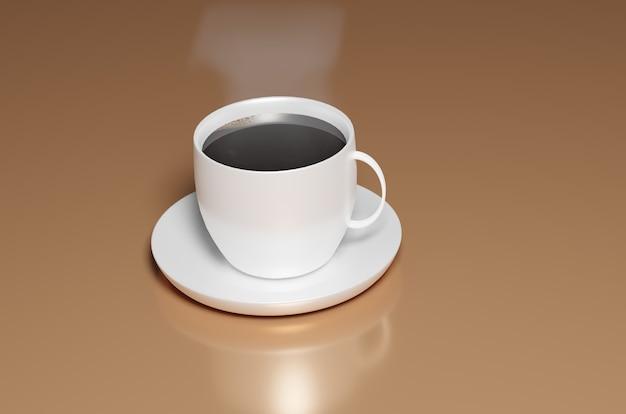 Renderização 3d de uma caneca de café quente