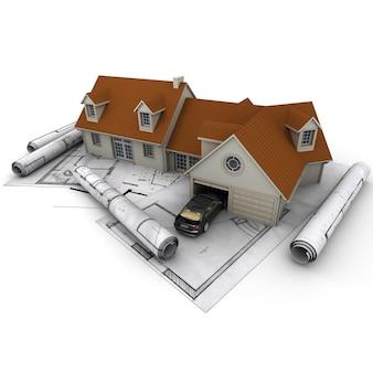 Renderização 3d de uma casa com garagem em cima de plantas