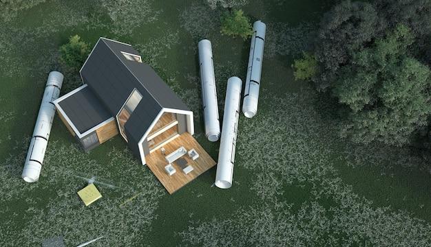Renderização 3d de uma casa com plantas em um campo