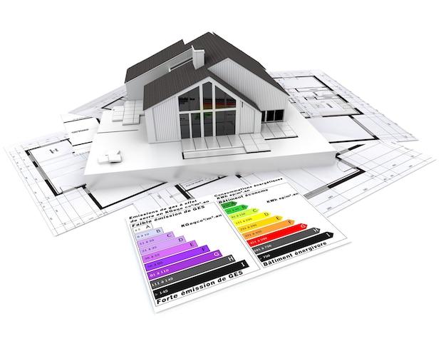 Renderização 3d de uma casa, em cima de plantas, com um gráfico de classificação de eficiência energética