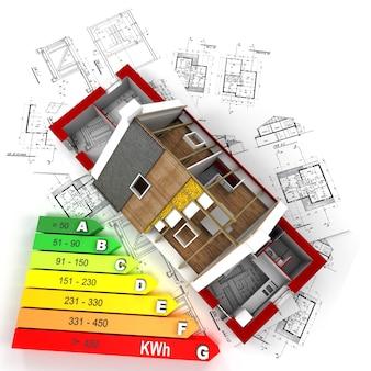Renderização 3d de uma casa em construção, em cima de plantas, com um gráfico de classificação de eficiência energética