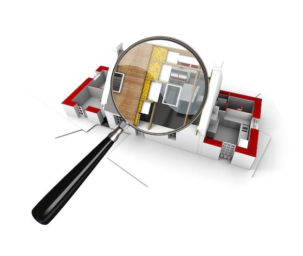 Renderização 3d de uma casa em construção examinada por uma lupa